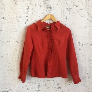 CHAPARE RED BUTTON RUFFLE BLOUSE M